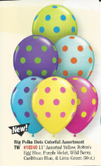 "11"" Qualatex Big Polka Dots Colorful Assortment (50 ct)"