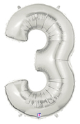 "NUMBER ""3"" 40"" SILVER MEGALOON (1 PK) POLYBAG"