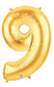"NUMBER ""9"" 40"" GOLD MEGALOON (1 PK) POLYBAG"