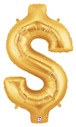 "DOLLAR SIGN 40"" GOLD MEGALOON (1 PK) POLYBAG"