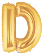 "LETTER ""D"" 40""  GOLD MEGALOON (1 PK) POLYBAG"
