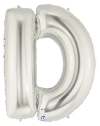 "LETTER ""D"" 40""  SILVER MEGALOON (1 PK) POLYBAG"