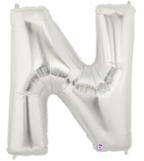 "LETTER ""N"" 40""  SILVER MEGALOON (1 PK) POLYBAG"