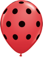 "5"" Round Big Polka Dots -  Red with black dots (100 count)"
