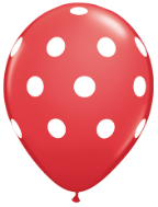 "11"" Round Big Polka Dot Red with Black Dots (50 Ct)"