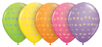 "11"" Polka Dot Assortment with Yellow, Orange, Rose, Spring Lilac, & Lime Green in 50 count bag"
