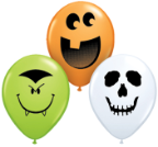 "5"" Round Halloween Face Assortment -  Lime Green, Orange, & White (100 ct.)"
