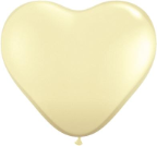 "6"" Heart Ivory Silk (100 count) Qualatex"
