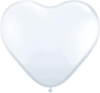 "6"" Heart White (100 count) Qualatex"