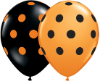 "11"" Round Big Polka Dot Orange & Black Ast (100 ct) Qualatex (SKU: 22146)"