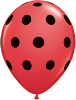 "5"" Round Big Polka Dots -  Red with black dots (100 count) (SKU: 26153)"