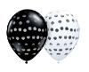 "11"" Round Black & White Polka Dot Assortment (100 ct) Qualatex"