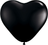 "6"" Heart Onyx Black (100 count) Qualatex (SKU: 60572)"